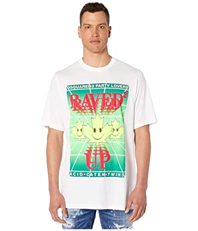 DSQUARED2 Dyed Raved Up Slouch Fit T-Shirt (White) Men
