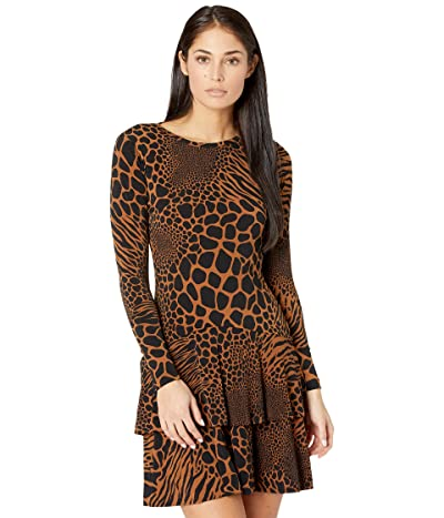 MICHAEL Michael Kors Petite Animal Patchwork Flounce Dress (Caramel) Women