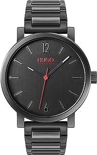 ساعة للرجال من هوغو بوس، مينا اسود اللون وسوار من الستانلس ستيل بطلاء اسود ايوني - 1530118
