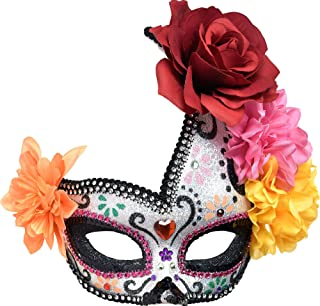 AMSCAN Day of The Dead Floral Sugar Skull Masquerade mask