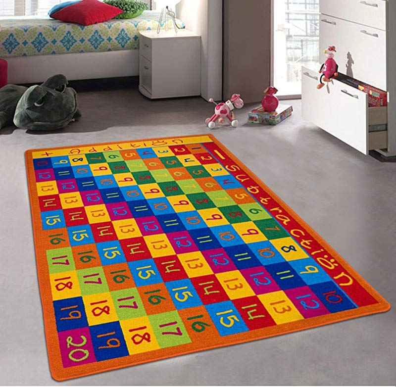 Kids Baby Room Daycare Classroom Playroom Area Rug Math Numbers Chart Educational Fun Non Slip Gel Back Bright Colorful Vibrant Colors 5 Feet X 7 Feet