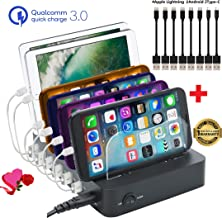 [Upgrade] GiGAWOOD Charging Station for Multiple Devices with Bonus 8 USB Cables Desktop Organizer Dock 6-Port 60W 12A Quick 3.0 Certified Charger for iPhone iPad Cell Phones Tablets Electronics, BK