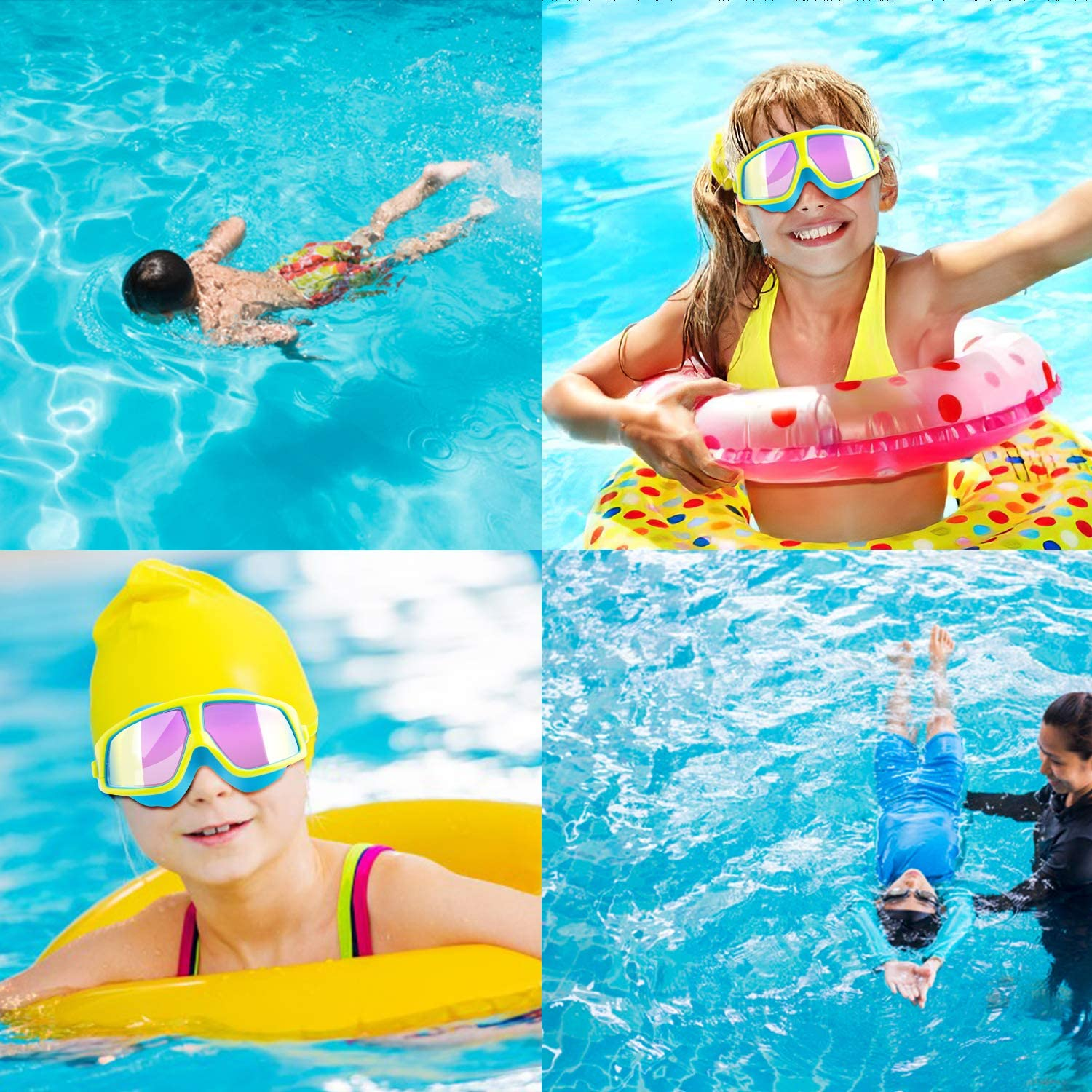 Tsuinz Kids Swimming Goggles No Leaking Anti Fog UV Protection Clear Lens Kids Swim Goggles Soft Silicone Frame Swim Glasses for Children with Built-in earplugs and Absorbent Case