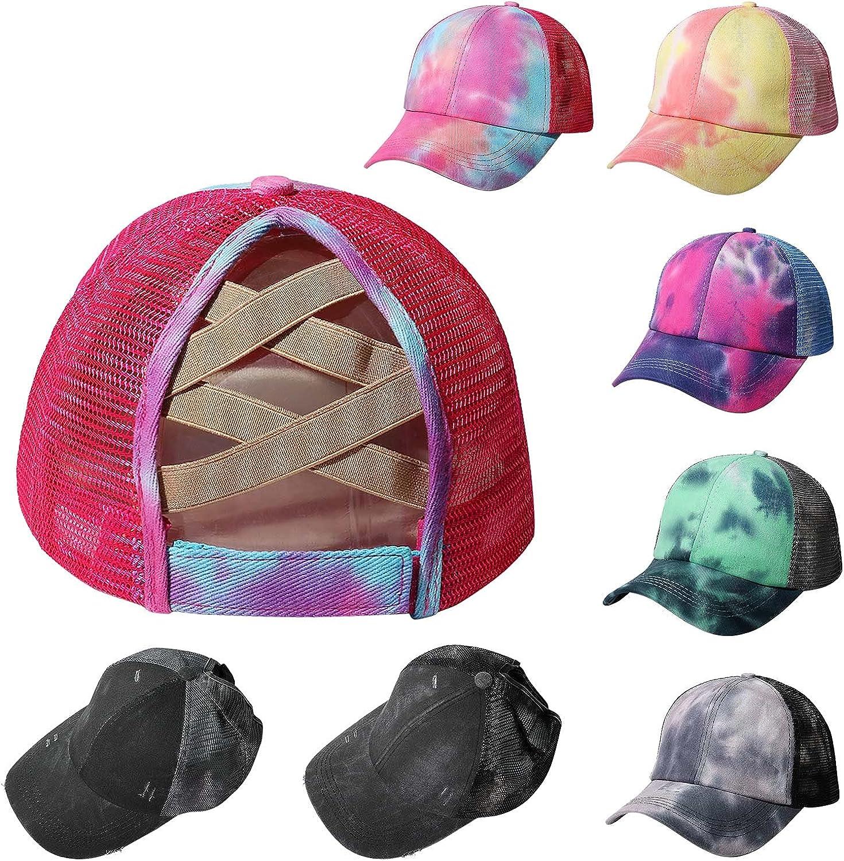 Tie-Dyed High Ponytail Baseball Caps Adjustable Trucker Mesh Sun Hat for Women Messy Bun…