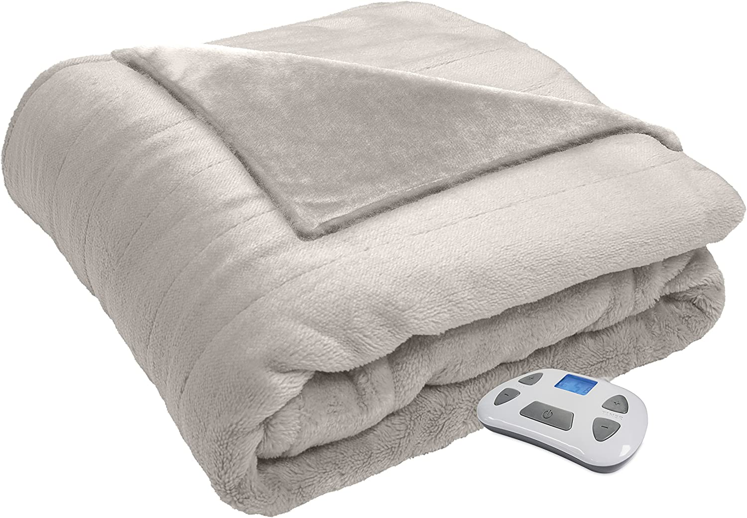 Serta Heated Electric  Silky Plush Blanket with Programmable Digital Controller, Full, Ivory Model 0917