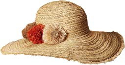 PBM3016 - Paper Straw Hat with Raffia Poms