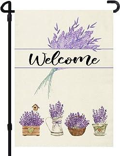 JOYMIN Welcome Lavender Garden Flag, Double Sided Monogram Garden Outdoor Yard Flags for Summer Decor (Garden Size - 12X18...