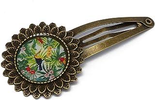 Regalo esotico clip Tucano resina verde ottone bronzo capelli resina regali personalizzati regali Natale amici madre compl...
