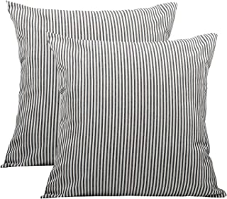 COMHO Pack of 2, Cotton Woven Striped Throw Pillow Covers Set, Decorative Cushion Covers, Square Farmhouse Pillowcases, for Sofa Bedroom Car Chair 18x18 Inch/45x45 cm (Black)