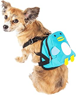 Pet Life ® 'Waggler Hobbler' Large-Pocketed Compartmental Animated Dog Harness Backpack, Small, Blue