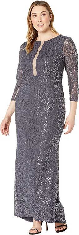 Plus Size 3/4 Sleeve Stretch Sequin Lace Gown with Illusion Center Front