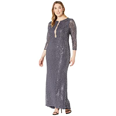 MARINA Plus Size 3/4 Sleeve Stretch Sequin Lace Gown with Illusion Center Front (Gunmetal) Women