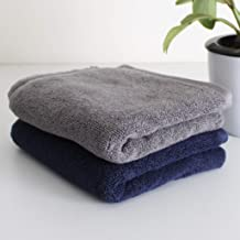 Heelium Bamboo Hand Towel for Sports & Gym, Ultra Soft, Super Absorbent, Antibacterial, 600 GSM, 25 x 15 inch, Pack of 2 Combo (Blue, Grey)