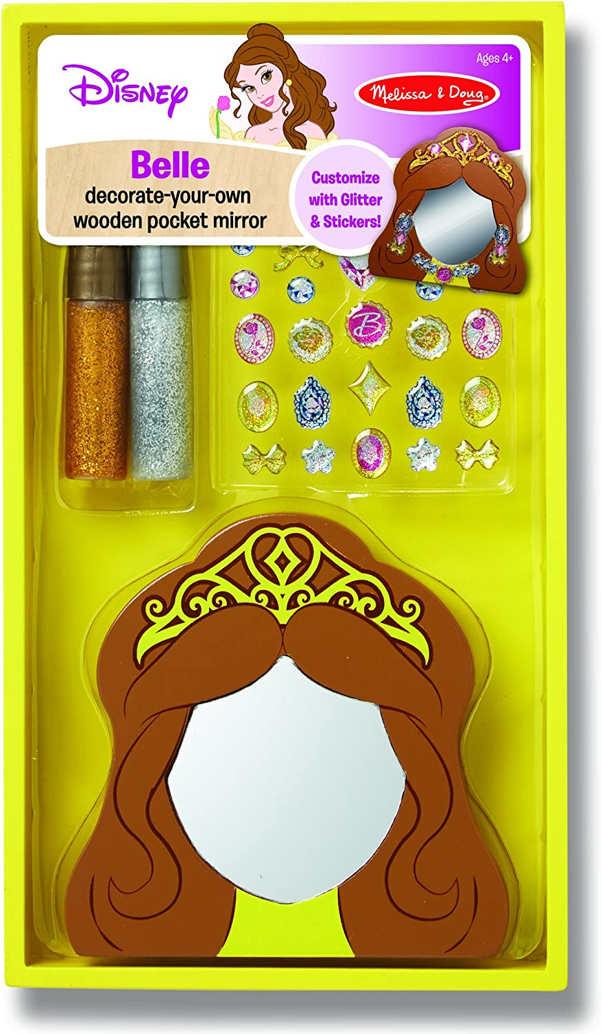 Melissa & Doug Disney Belle Decorate-Your-Own Wooden Pocket Mirror