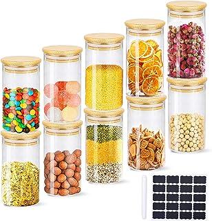Pot à épices 350ml, MIROCOO 10 Ensembles de Bocal à épices avec Couvercles Hermétiques en Bambou, Étiquettes et Marqueurs,...