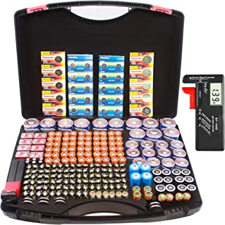 Hard Battery Organizer Sorter Storage case with Digital Battery Tester, Holding Over 250+ C, D, AA, AAA, AAAA, Button Cell...
