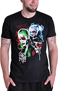 Suicide Squad Harley Quinn y Joker - Camiseta para hombre y mujer, color negro con gran impresión en el pecho
