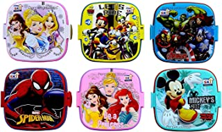 perpetual bliss (pack of 12) fancy disney theme square lunch box double layer for kids return gifts (dimension)cm: 13x13x1...