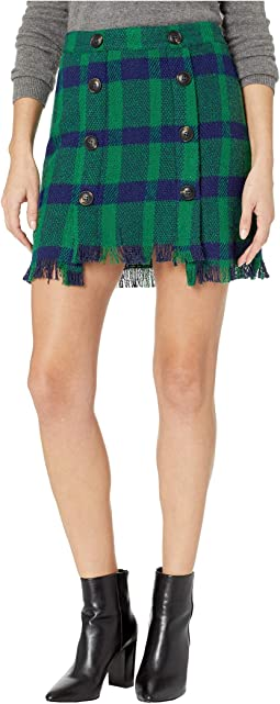 Fringed Mini Skirt with Button Detail