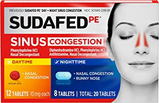 Best Sudafed PE Day and Night Sinus Pressure and Congestion Tablets, 20 Count Review