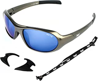 Rapid Eyewear Aspen SKI, GLACIER AND EXTREME SPORT SUNGLASSES & GOGGLES Anti Fog Blue Mirrored Lenses and Retainer Strap. For Men & Women. UV400 Protection Glasses. Also For Dry Eye