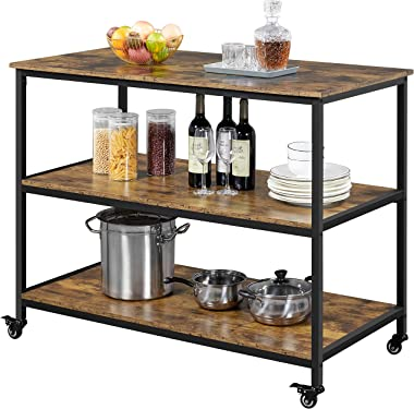 Yaheetech 3-Tier Kitchen Island Rolling Cart on Wheels with Shelves for Dining Room, 47 Inch Kitchen Serving Cart with Lockab