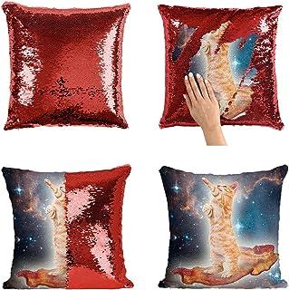 Cat Spaceship Pizza Funny Space Catto P41 Sequin Pillow, Almohada, Sequin Pillowcase, Funda de Almohada, Scales Pillow, Pillow Gift, Magic Pillow, Mermaid Pillow, Regalo de Navidad