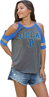 Colosseum NCAA Women's Casual Cold Shoulder Short Sleeve T-Shirt-Heather Charcoal