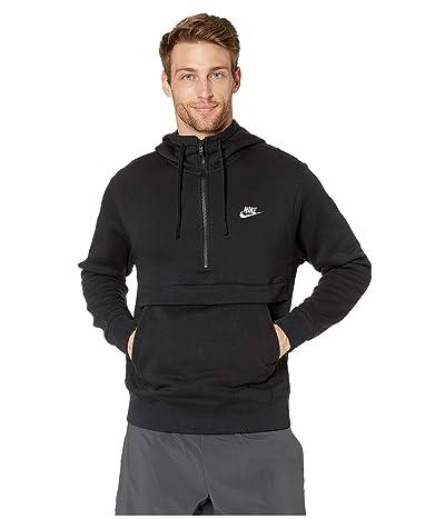 Nike NSW Club Hoodie 1/2 Zip (Black/Black/Black/White) Men