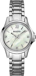 Bulova - 96P152 - Reloj de Cuarzo para Mujer con Esfera de nácar, Esfera analógica y Pulsera de Acero Inoxidable Plateado