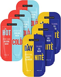 Freeman Beauty Day & Night + Hot & Cold Face Mask Variety Set, Gel Skin Care Facial Masks for Women, 6pk Sachets