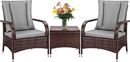 VIVOHOME 3 Pieces Patio Furniture Set PE Wicker Outdoor Sofa Conversation Set Table and Chairs with Cushions for Garden La...