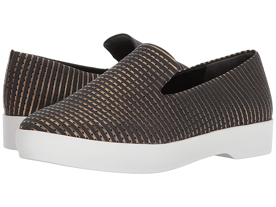 Donna Karan Pia Slip-On (Black/Antique Gold Metallic Diamond Leather) Women