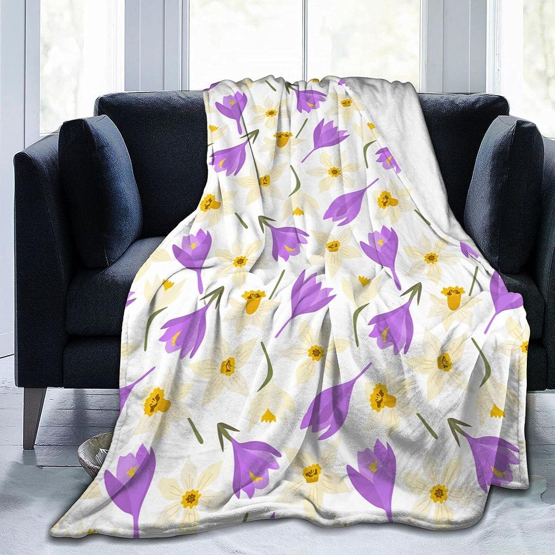 Fredeulva Fort Worth Very popular Mall Blanket White Narcissus Crocus Fleece Daffodil Flannel
