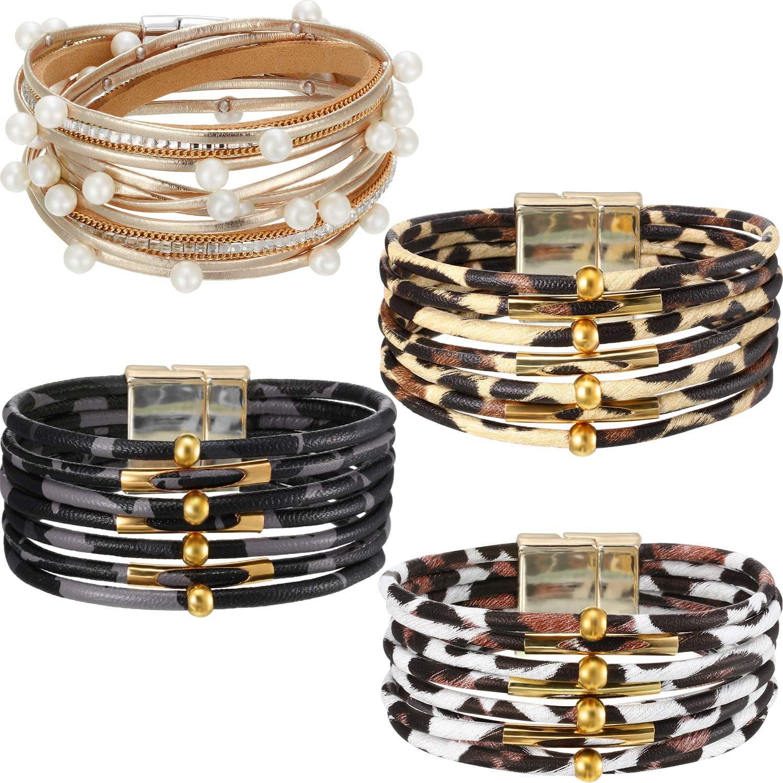 Hicarer 4 safety Pieces Leopard Sale Bracelets Wrap Metal Boho Bracelet Pipe