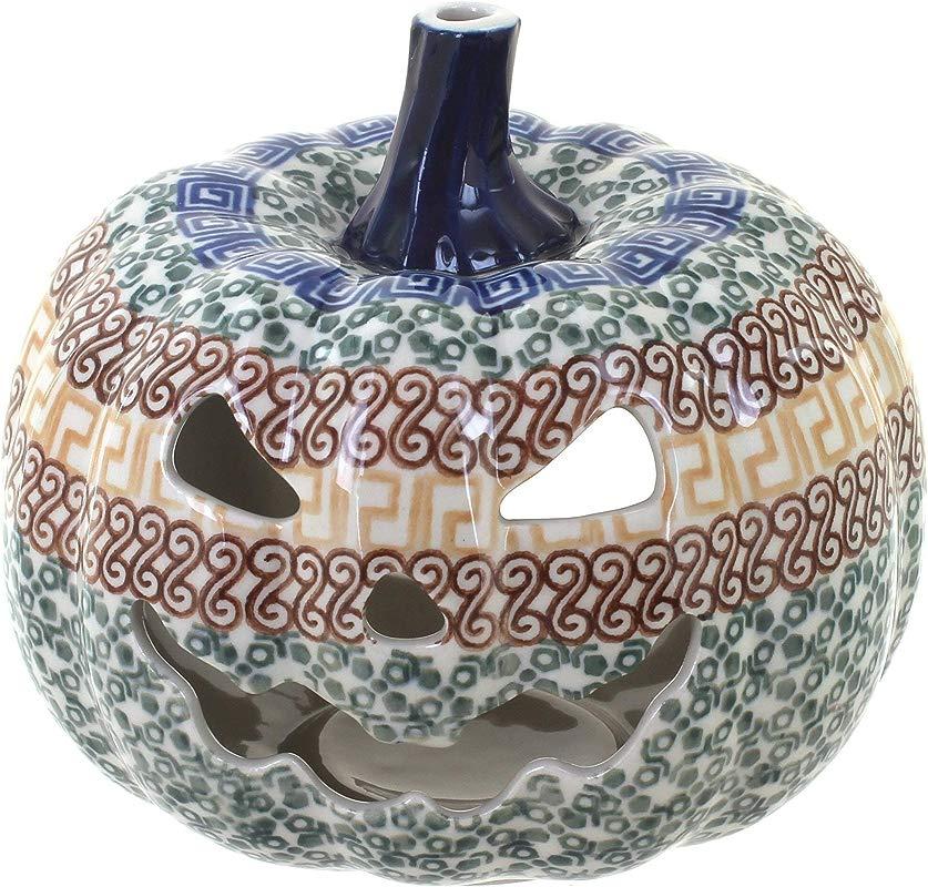 Blue Rose Polish Pottery Athena Pumpkin Luminary