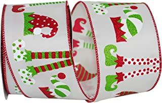 Reliant Ribbon 93085W-601-40F Elf Legs & Hats Wired Edge Rd Ribbon, 2-1/2 Inch X 10 Yards, Lime/red