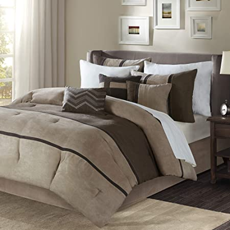 Madison Park Palisades Cal King Size Bed Comforter Set Bed In A Bag - Brown, Taupe , Pieced Stripe – 7 Pieces Bedding Sets – Micro Suede Bedroom Comforters