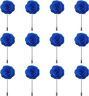 RareLove 12pcs White Lapel Pin Rose Wedding Boutonniere Set for Men Flower