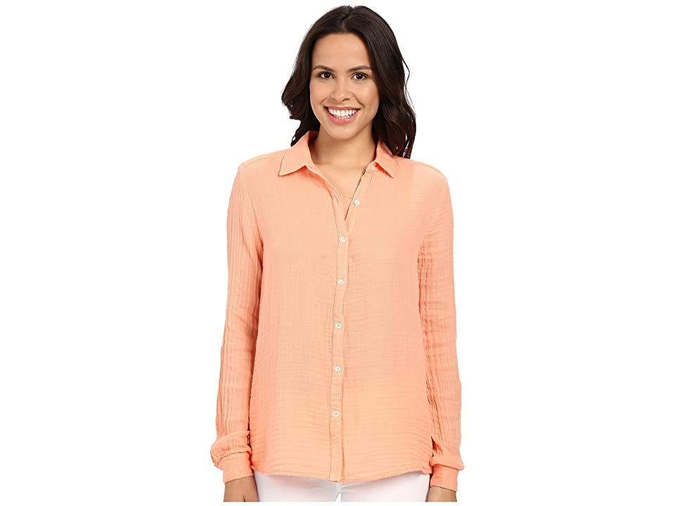 Three Dots Long Sleeve Shirt (Coral Cream) Women