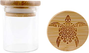 Hakuna Supply - Glass Storage Jars with Airtight Bamboo Lid, Multi-Use Containers for Herbs, Tea, Candy, Q-Tips, etc. for The Bedroom, Kitchen, and Bathroom (1/8 Oz, Sea Turtle)