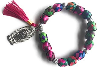 Our Lady of Guadalupe Colored Palm Bracelet with Prayer Pulsera de Palma Virgen de Guadalupe con oración