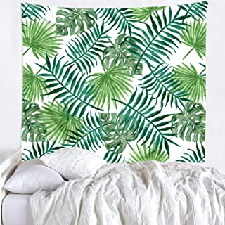 Imandale Tropical Leaf Tapestry Green - Palm Leaves Wall Blanket for Beach, Living Room, Dorm Decor 51x59 Inches (Palm Leaf)