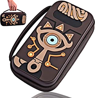 Carrying Case Compatible Nintendo Switch Zelda–Outdoor Waterproof Carrying Case–Travel Silicone Hard Shell Embossed Zelda Handbag with Link Sheikah Slate Eye for Nintendo Switch Console & Accessories