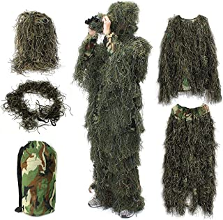 OUTERDO Camo Suits Ghillie Suits 3D Leaves Woodland Camouflage Clothing Army Sniper Military Clothes and Pants