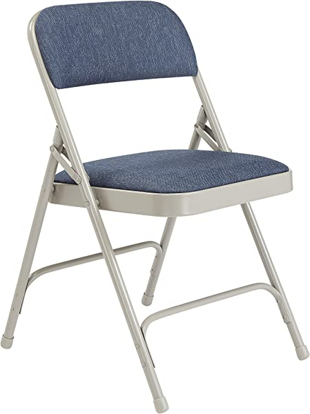 National Public Seating 2200 Series Steel Frame Upholstered Premium Fabric Seat And Back Folding Chair With Double Brace 480 Lbs Capacity Imperial Blue Gray Carton Of 4