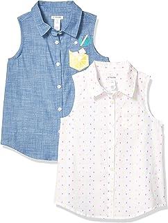 Marca Amazon - Spotted Zebra Paquete de 2 Camisetas Tejidas Sin Mangas. - athletic-shirts Niñas
