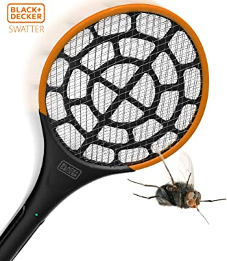 Black + Decker Electric Fly Swatter | Large Handheld Indoor & Outdoor Mosquito & Bug Zapper with Battery-Powered Mesh
