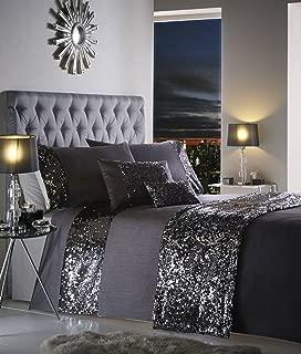 Dazzle Luxury Sequin Duvet Quilt Cover Bedding Set Charcoal - UK King / US Queen