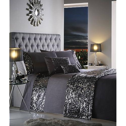 Charcoal Grey Black Sequins Dazzle Sparkle Glitz Duvet Cover Set Bedding Range